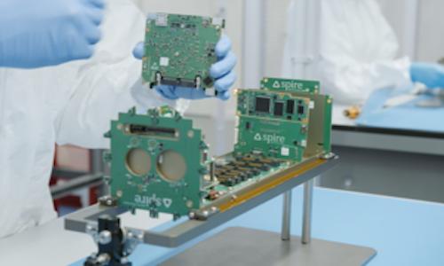 A nanosatellite being assembled.